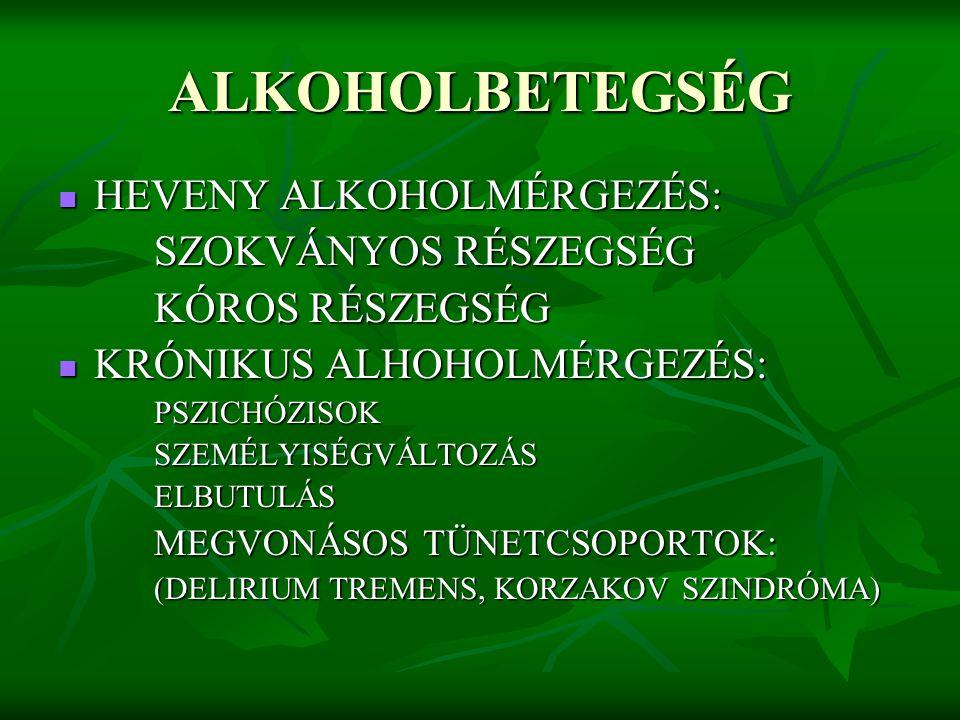 ALKOHOLBETEGSÉG HEVENY ALKOHOLMÉRGEZÉS: SZOKVÁNYOS RÉSZEGSÉG