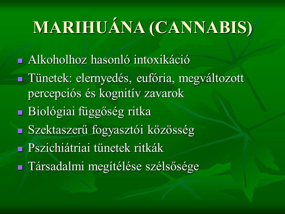 MARIHUÁNA (CANNABIS) Alkoholhoz hasonló intoxikáció