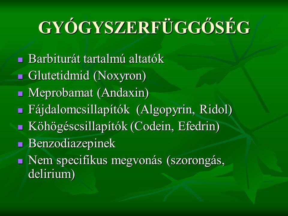 GYÓGYSZERFÜGGŐSÉG Barbiturát tartalmú altatók Glutetidmid (Noxyron)