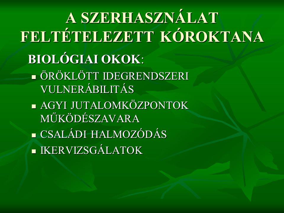 A SZERHASZNÁLAT FELTÉTELEZETT KÓROKTANA