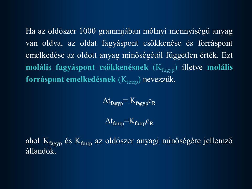 Ha az oldószer 1000 grammjában mólnyi mennyiségű anyag van oldva, az oldat fagyáspont csökkenése és forráspont emelkedése az oldott anyag minőségétől független érték. Ezt molális fagyáspont csökkenésnek (Kfagyp) illetve molális forráspont emelkedésnek (Kforrp) nevezzük.