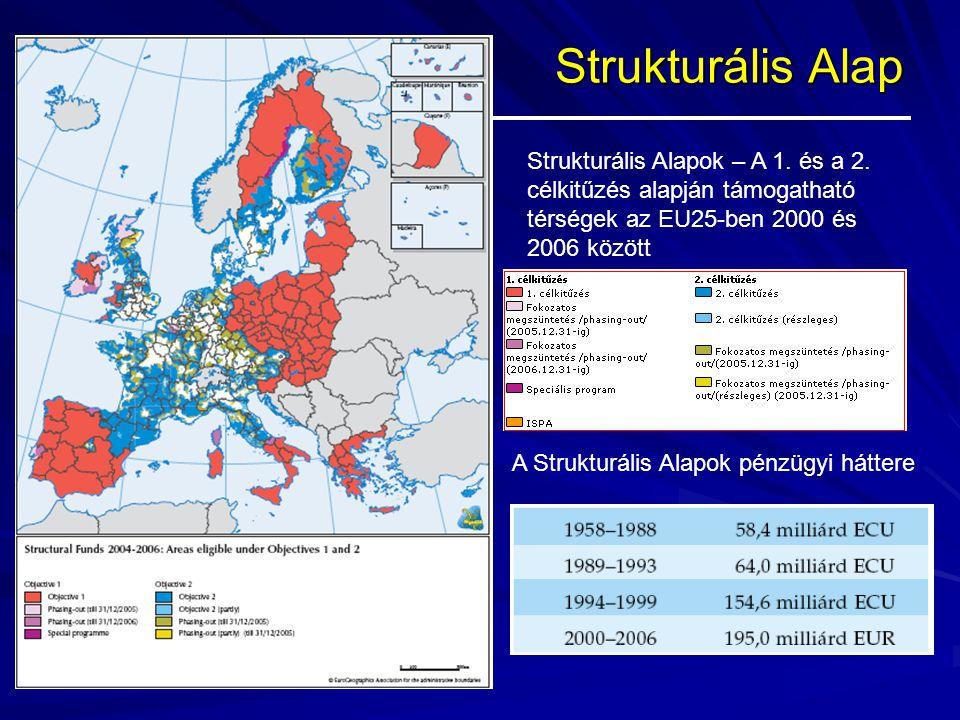 Strukturális Alap Strukturális Alapok – A 1. és a 2. célkitűzés alapján támogatható térségek az EU25-ben 2000 és 2006 között.