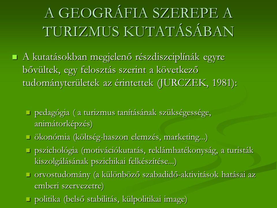 A GEOGRÁFIA SZEREPE A TURIZMUS KUTATÁSÁBAN