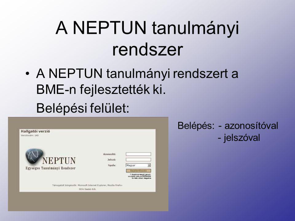 A NEPTUN tanulmányi rendszer