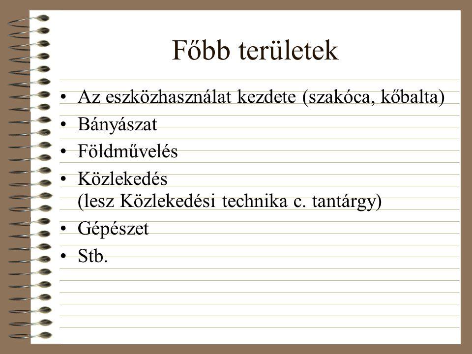 Főbb területek Az eszközhasználat kezdete (szakóca, kőbalta) Bányászat