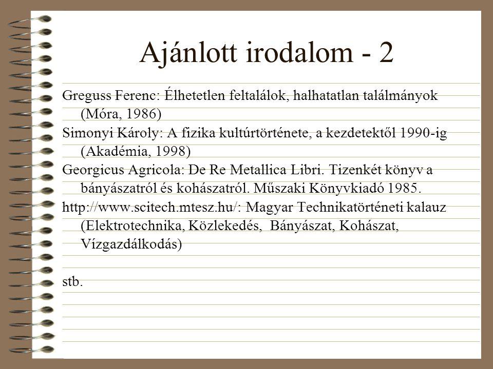Ajánlott irodalom - 2 Greguss Ferenc: Élhetetlen feltalálok, halhatatlan találmányok (Móra, 1986)