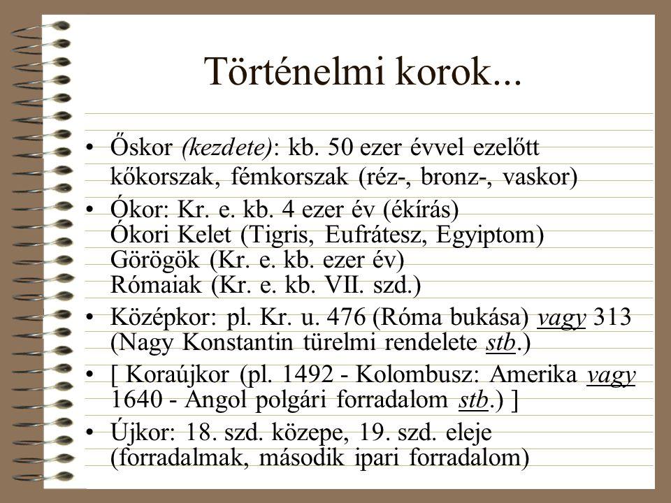 Történelmi korok... Őskor (kezdete): kb. 50 ezer évvel ezelőtt kőkorszak, fémkorszak (réz-, bronz-, vaskor)