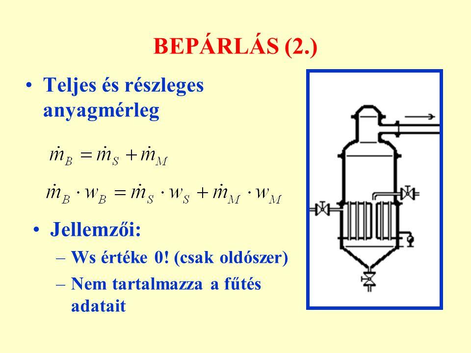 BEPÁRLÁS (2.) Teljes és részleges anyagmérleg Jellemzői: