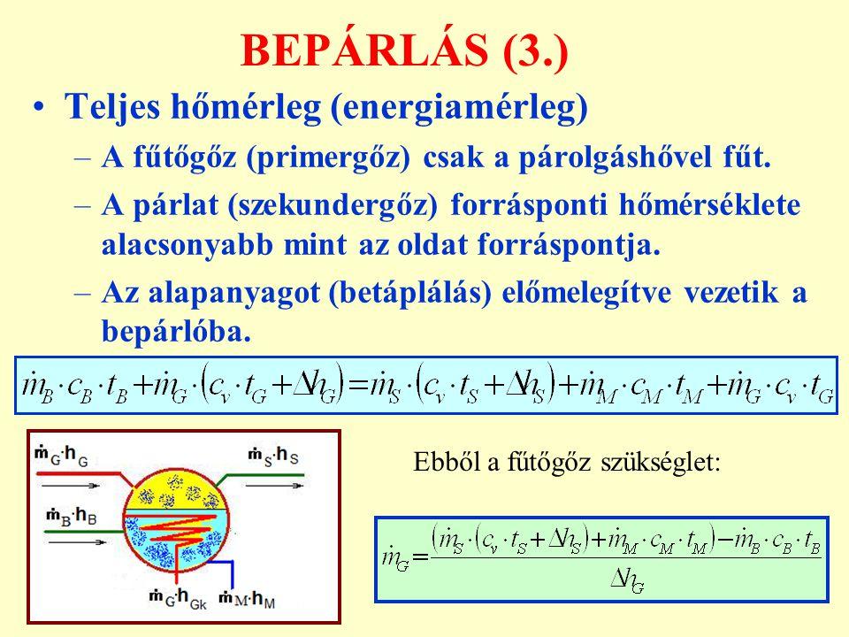 BEPÁRLÁS (3.) Teljes hőmérleg (energiamérleg)