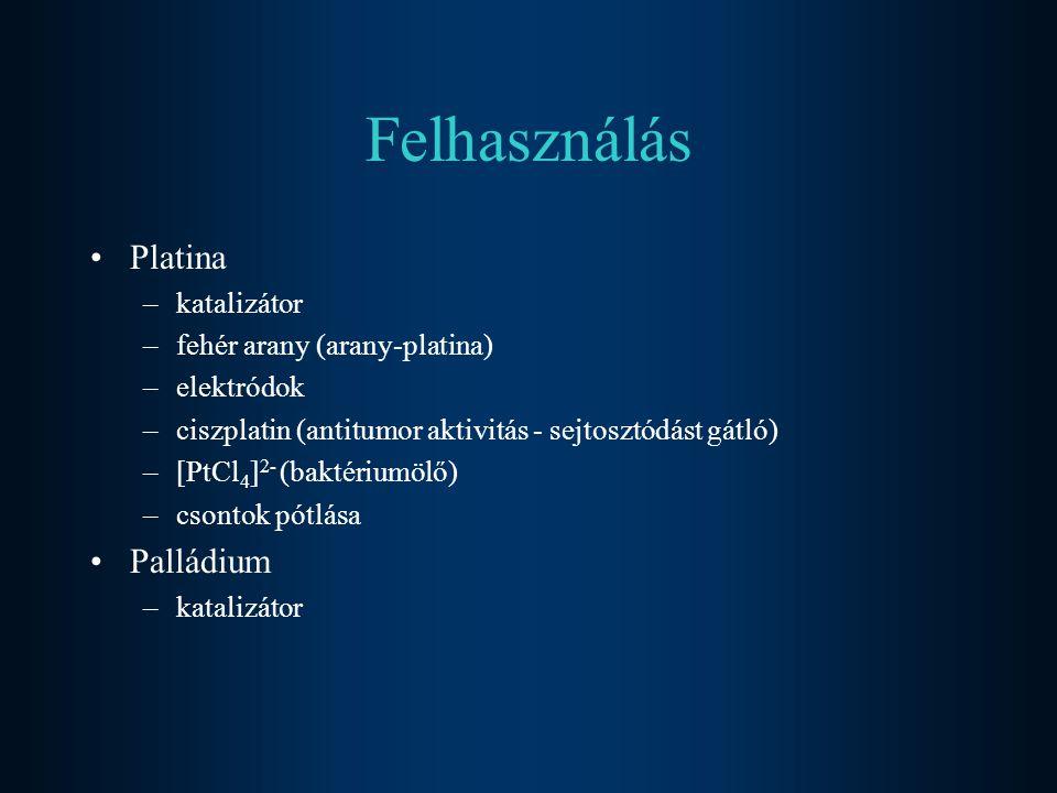 Felhasználás Platina Palládium katalizátor fehér arany (arany-platina)