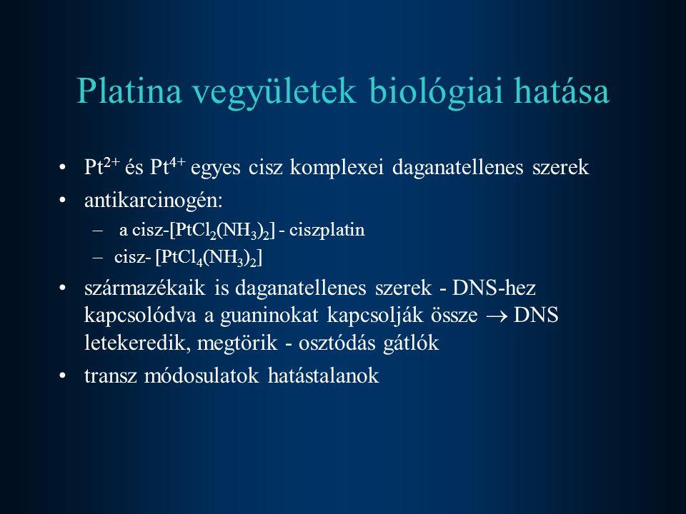 Platina vegyületek biológiai hatása