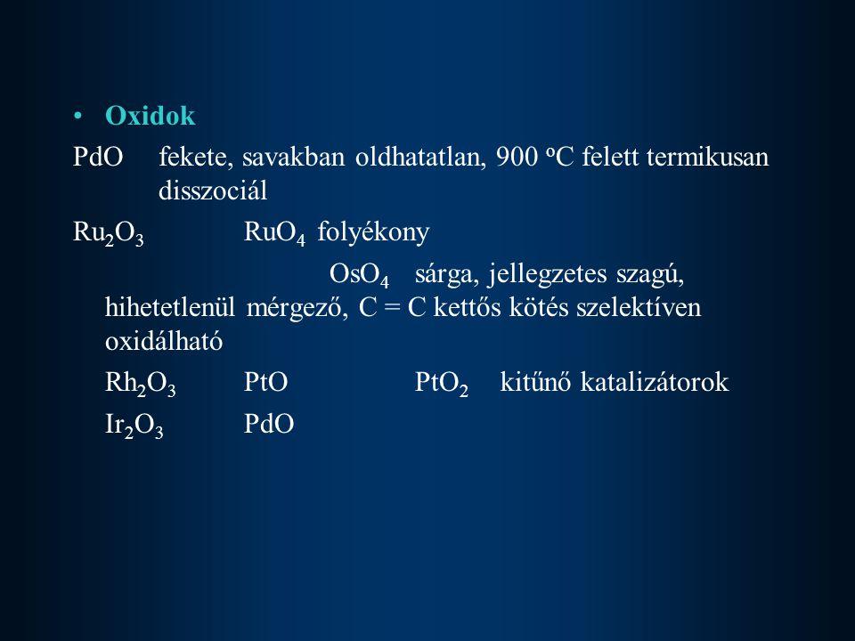 Oxidok PdO fekete, savakban oldhatatlan, 900 oC felett termikusan disszociál. Ru2O3 RuO4 folyékony.