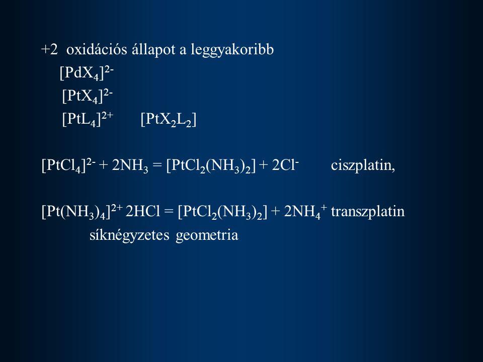 +2 oxidációs állapot a leggyakoribb