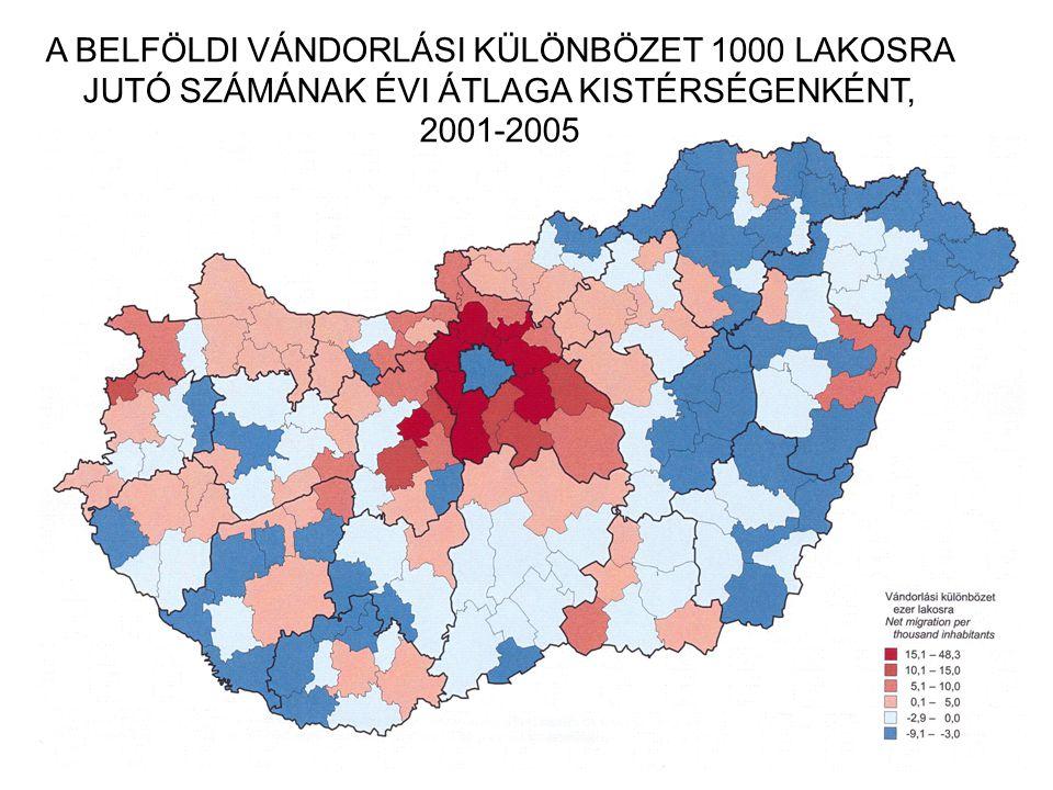 A BELFÖLDI VÁNDORLÁSI KÜLÖNBÖZET 1000 LAKOSRA JUTÓ SZÁMÁNAK ÉVI ÁTLAGA KISTÉRSÉGENKÉNT, 2001-2005