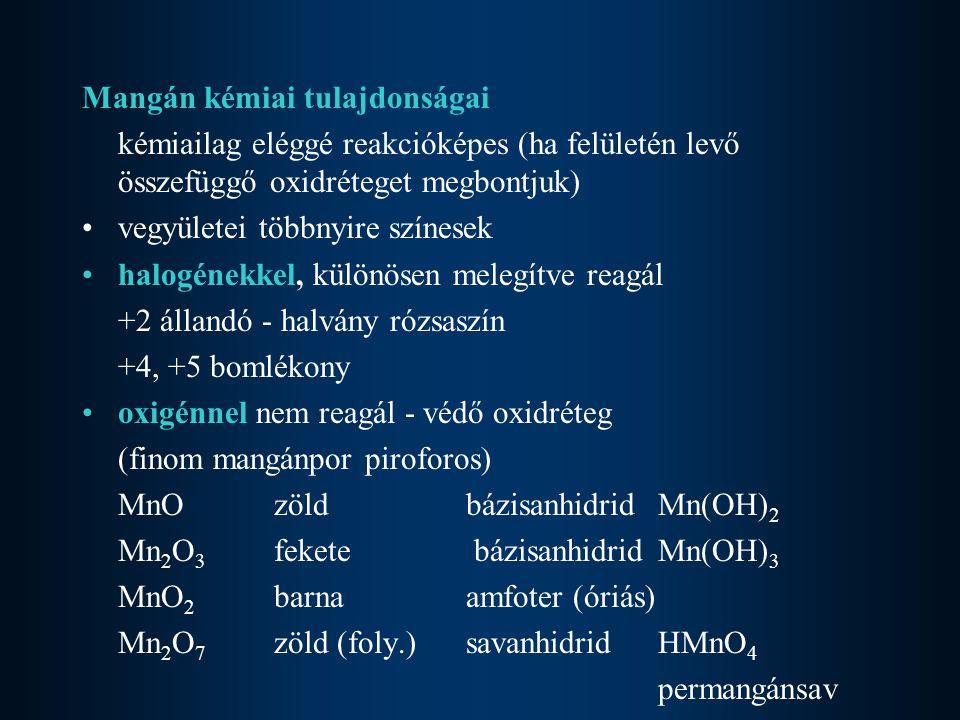 Mangán kémiai tulajdonságai