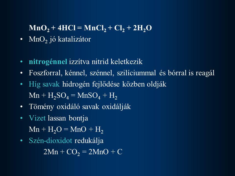 MnO2 + 4HCl = MnCl2 + Cl2 + 2H2O MnO2 jó katalizátor. nitrogénnel izzítva nitrid keletkezik.