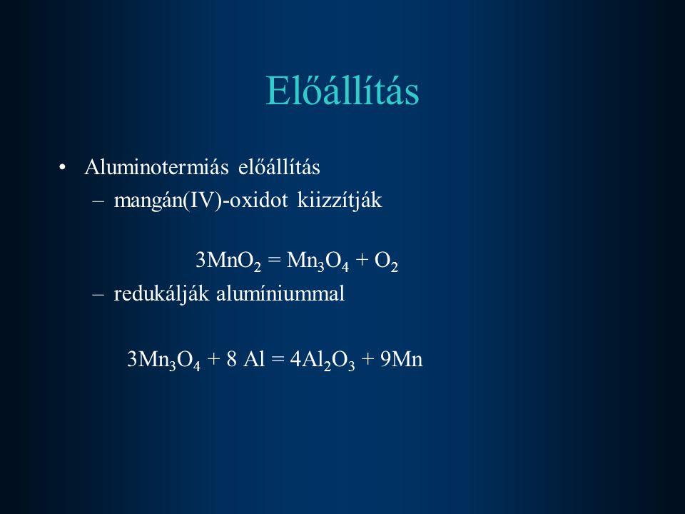 Előállítás Aluminotermiás előállítás mangán(IV)-oxidot kiizzítják