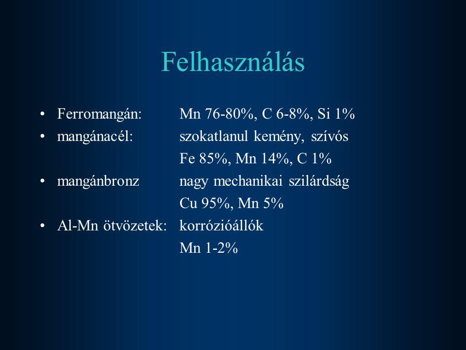 Felhasználás Ferromangán: Mn 76-80%, C 6-8%, Si 1%