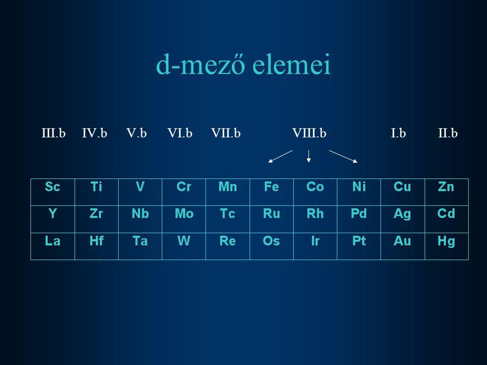 d-mező elemei III.b IV.b V.b VI.b VII.b VIII.b I.b II.b