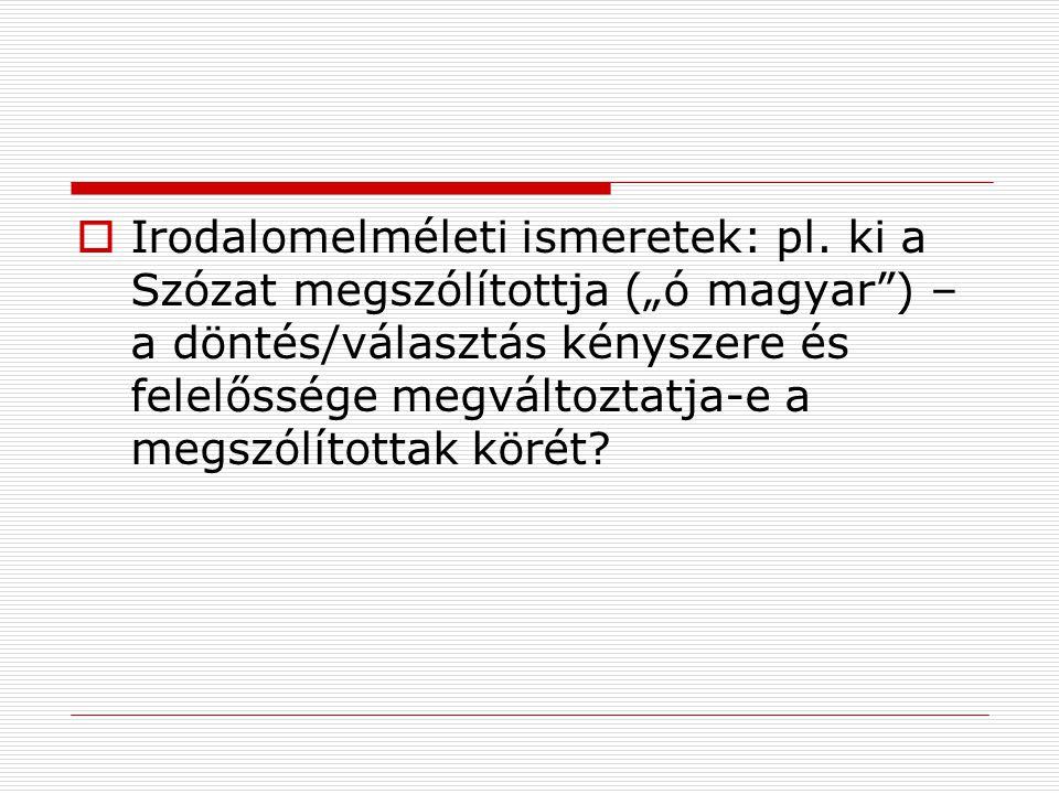 Irodalomelméleti ismeretek: pl
