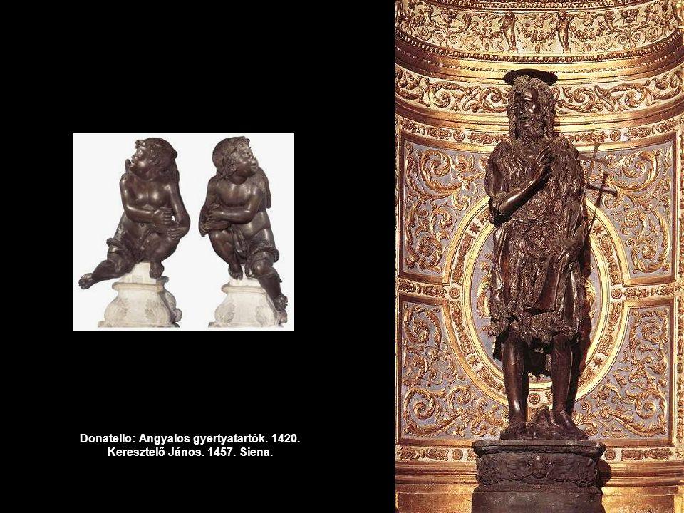 Donatello: Angyalos gyertyatartók. 1420. Keresztelő János. 1457. Siena.