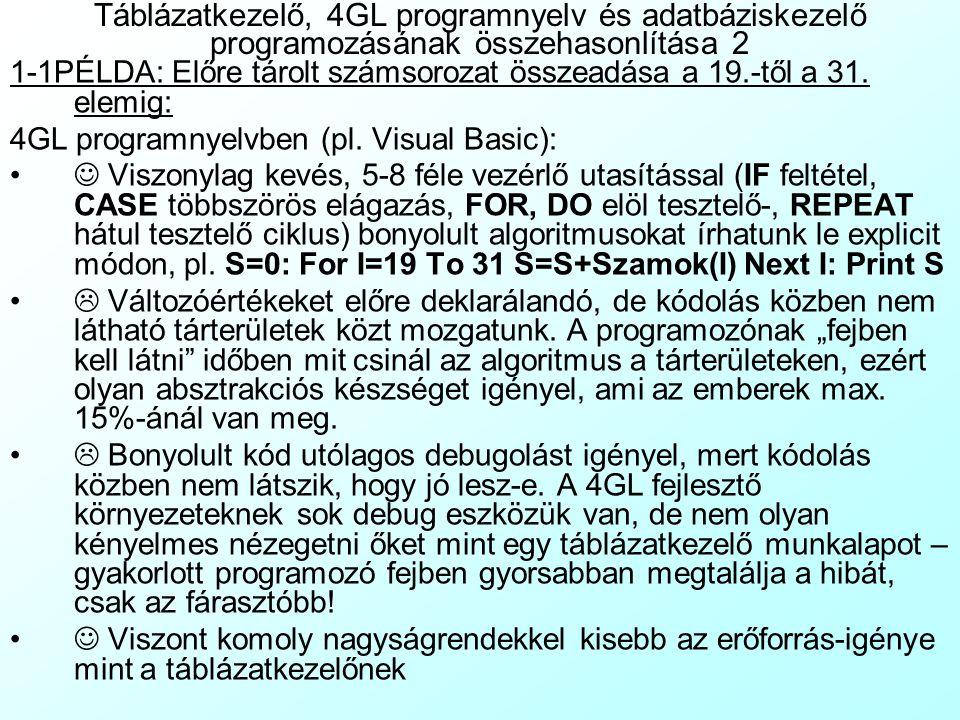 Táblázatkezelő, 4GL programnyelv és adatbáziskezelő programozásának összehasonlítása 2