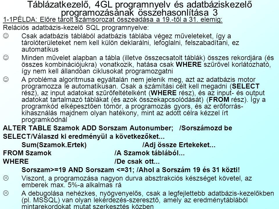 Táblázatkezelő, 4GL programnyelv és adatbáziskezelő programozásának összehasonlítása 3
