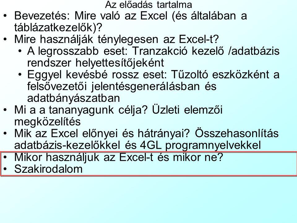 Bevezetés: Mire való az Excel (és általában a táblázatkezelők)