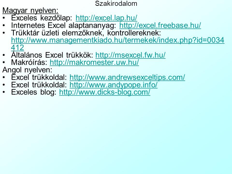 Exceles kezdőlap: http://excel.lap.hu/