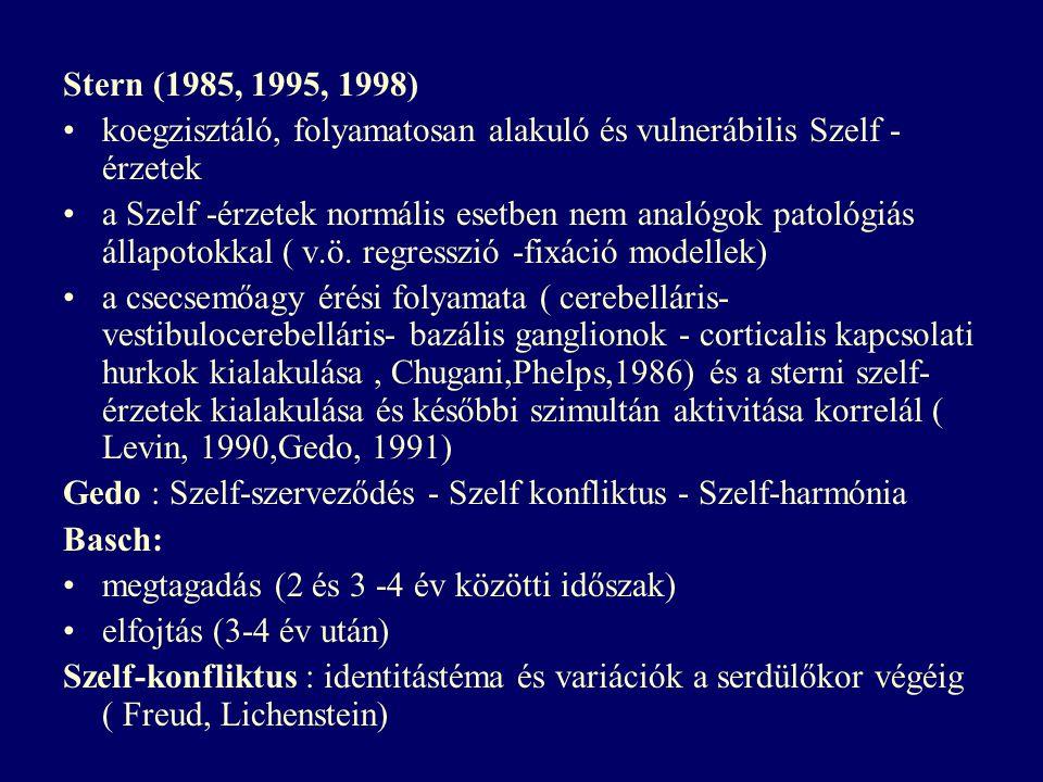 Stern (1985, 1995, 1998) koegzisztáló, folyamatosan alakuló és vulnerábilis Szelf -érzetek.