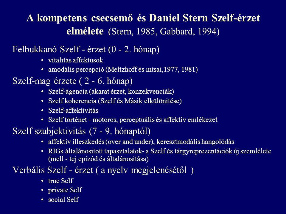 A kompetens csecsemő és Daniel Stern Szelf-érzet elmélete (Stern, 1985, Gabbard, 1994)