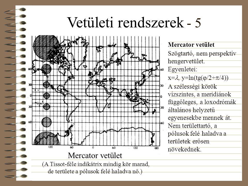 Vetületi rendszerek - 5 Mercator vetület. Szögtartó, nem perspektív hengervetület. Egyenletei: x=, y=ln(tg(/2+/4))