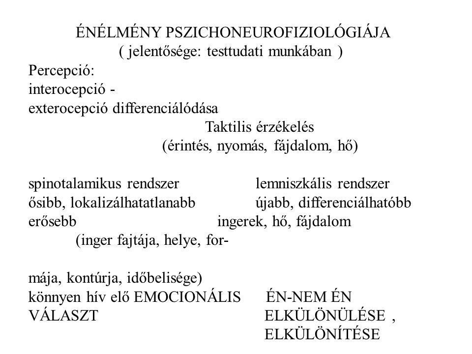 ÉNÉLMÉNY PSZICHONEUROFIZIOLÓGIÁJA