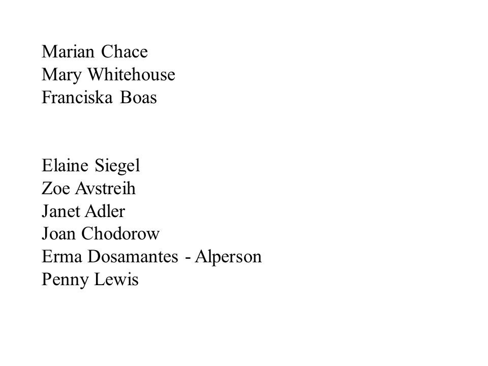 Marian Chace Mary Whitehouse. Franciska Boas. Elaine Siegel. Zoe Avstreih. Janet Adler. Joan Chodorow.