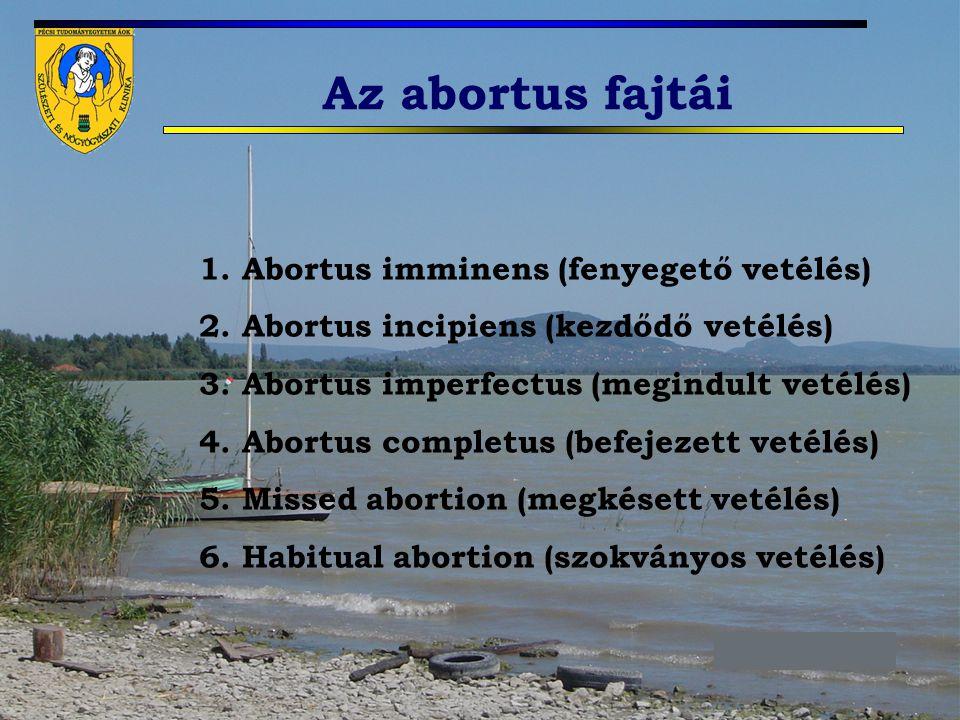 Az abortus fajtái 1. Abortus imminens (fenyegető vetélés)