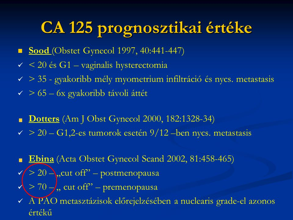 CA 125 prognosztikai értéke