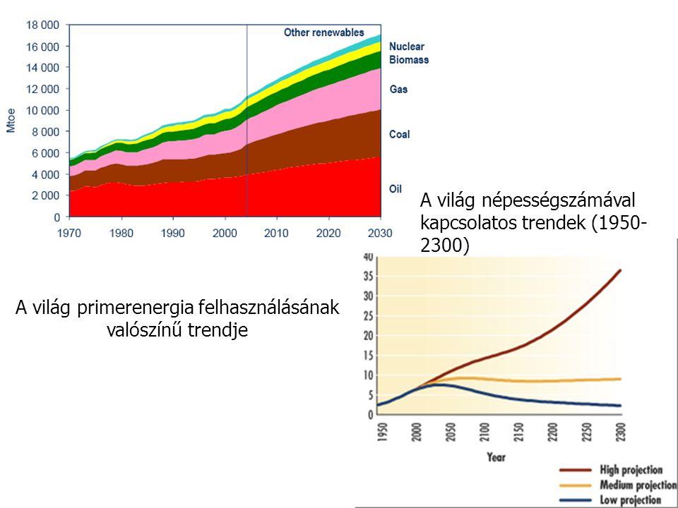 A világ primerenergia felhasználásának valószínű trendje