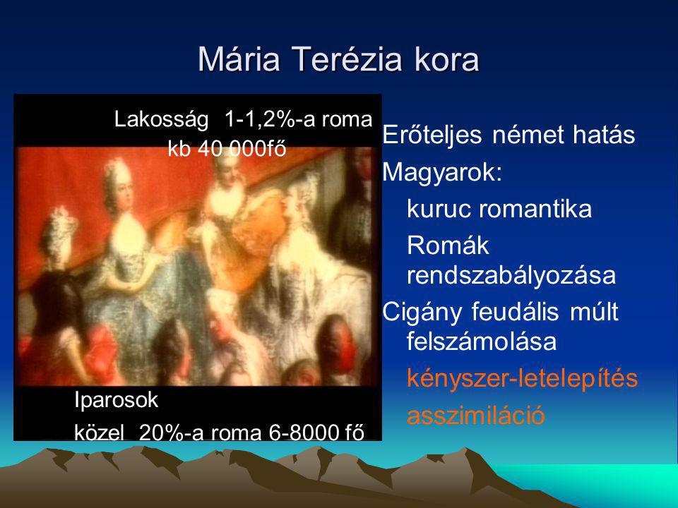 Mária Terézia kora Erőteljes német hatás Magyarok: kuruc romantika