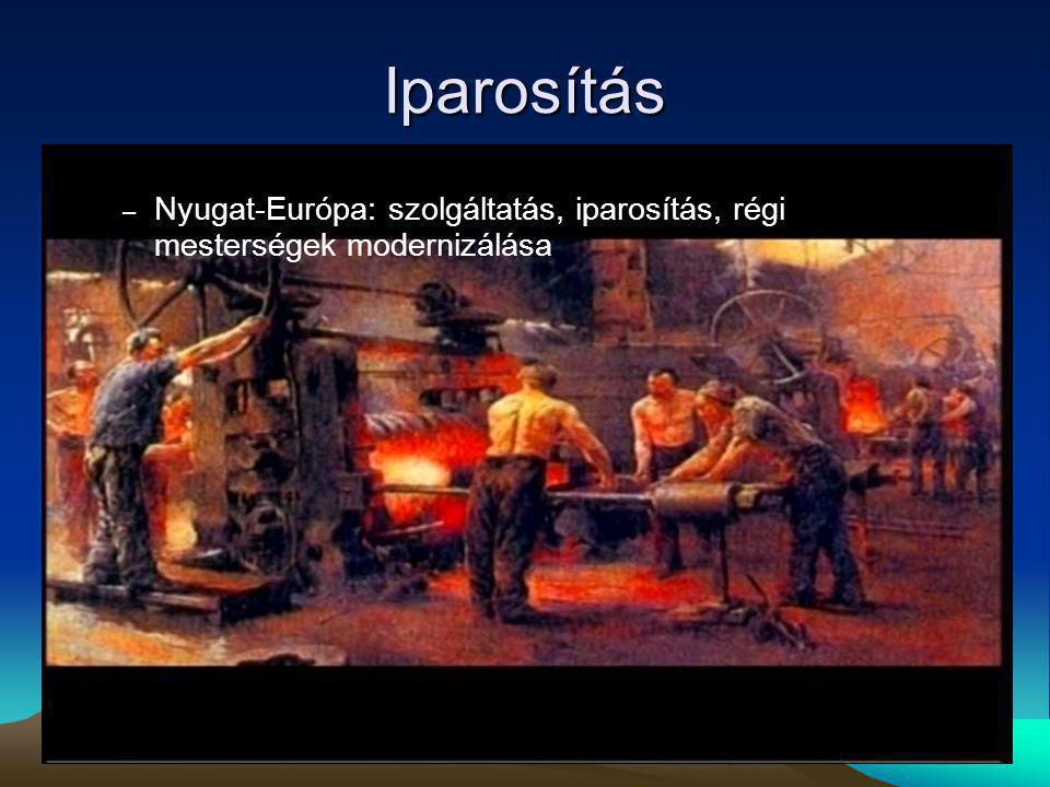 Iparosítás Nyugat-Európa: szolgáltatás, iparosítás, régi mesterségek modernizálása