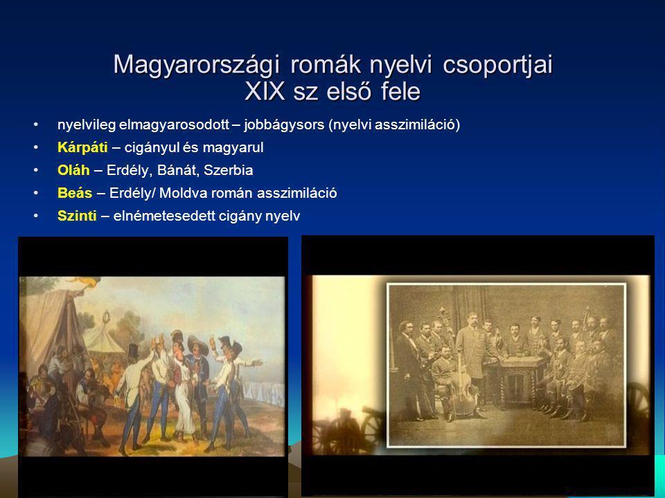 Magyarországi romák nyelvi csoportjai XIX sz első fele
