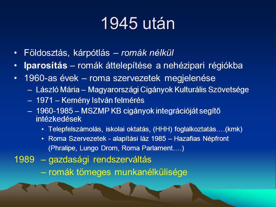 1945 után Földosztás, kárpótlás – romák nélkül