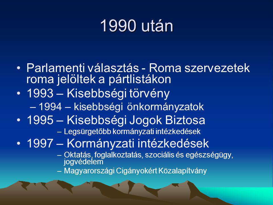 1990 után Parlamenti választás - Roma szervezetek roma jelöltek a pártlistákon. 1993 – Kisebbségi törvény.