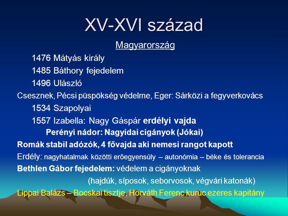 XV-XVI század Magyarország 1476 Mátyás király 1485 Báthory fejedelem