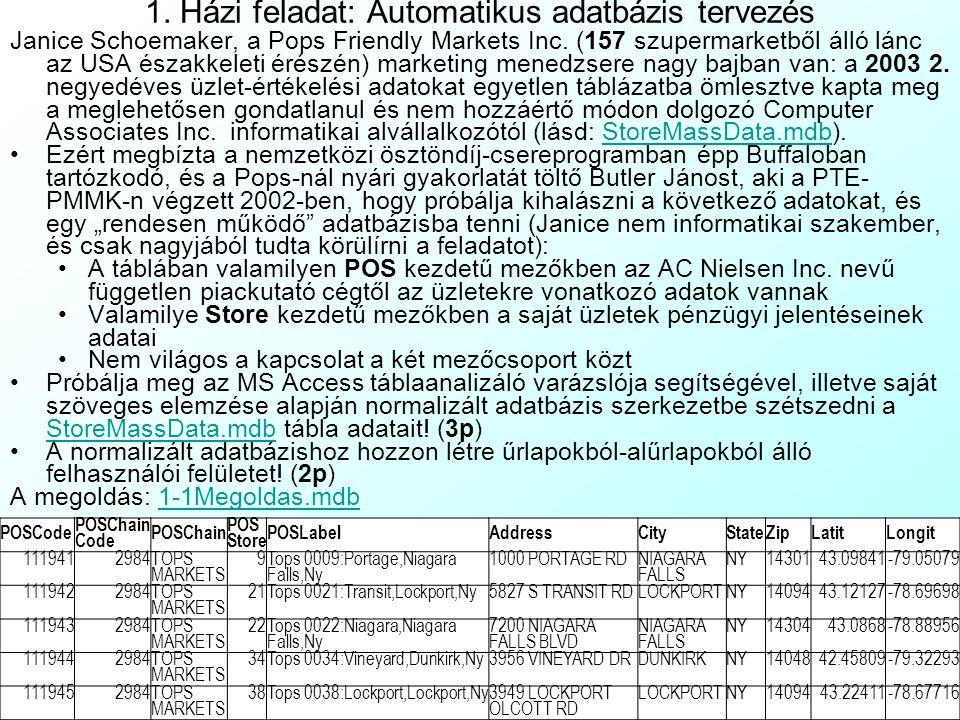 1. Házi feladat: Automatikus adatbázis tervezés
