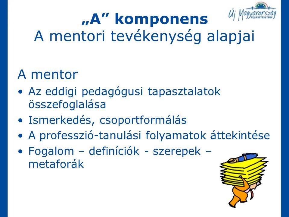 """""""A komponens A mentori tevékenység alapjai"""
