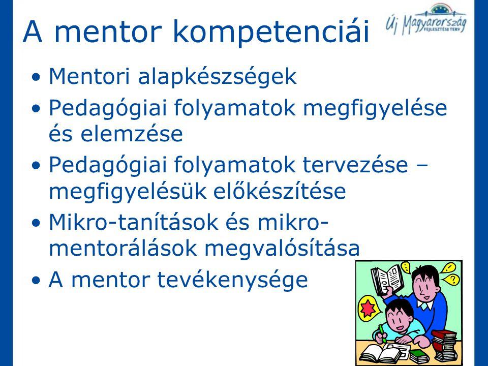 A mentor kompetenciái Mentori alapkészségek