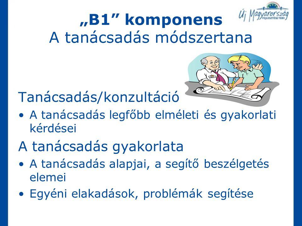 """""""B1 komponens A tanácsadás módszertana"""