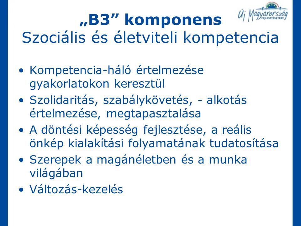 """""""B3 komponens Szociális és életviteli kompetencia"""
