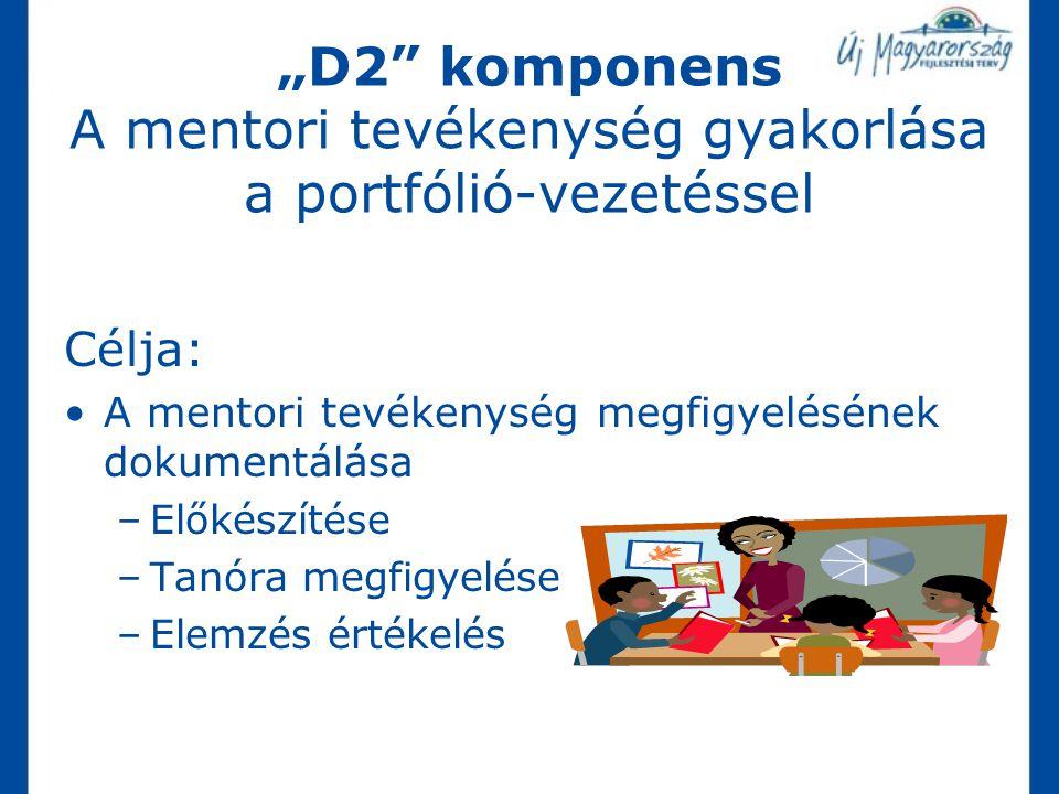 """""""D2 komponens A mentori tevékenység gyakorlása a portfólió-vezetéssel"""