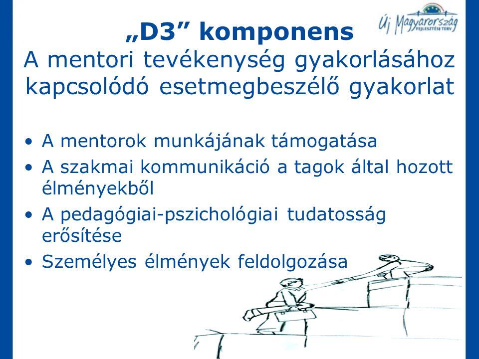 """""""D3 komponens A mentori tevékenység gyakorlásához kapcsolódó esetmegbeszélő gyakorlat"""